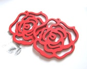 Hollow Series-- 4pcs 45mm Pretty Red Rose Wooden Charm/Pendant