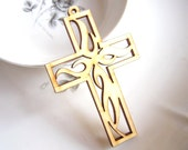 Hollow Series--4pcs 72x46mm Pretty Nature Color Fire Cross Wooden Charm/Pendant