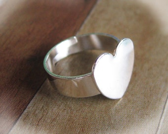 5 pcs Finished Solid Silver Plated Adjustable Ring Blanks With Heart Pad(Nickel Free)