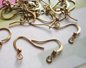 60 Pcs 15mm Raw Brass Earwires With Ball