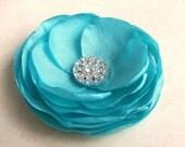 Flower Hair Clip - Tiffany Blue Wedding Flower Hair Clip - Bridal Accessory