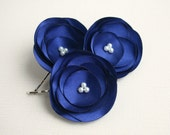 Navy Blue Flower Hair Clips, Wedding Hair Flowers, Blue Flower Hair Clips, Bridal Hair Accessories, Blue Flower Hair Pins, Flower Hair Piece