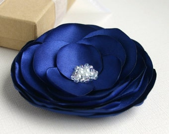 Blue Flower Hair Clip, Wedding Hair Piece, Navy Blue Flower Head Piece, Bridesmaid Accessory, Floral Hairpiece, Flower Hair Pin, Flower Girl