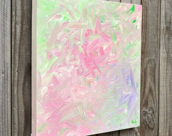 """Early Spring large original painting abstract 24"""" x 24"""" square modern contemporary fresh urban shabby chic"""