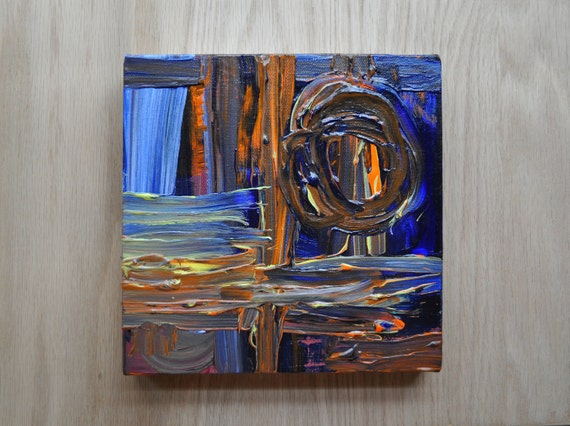 Tribal Paint Blue original abstract painting contemporary rustic modern urban textured blue orange