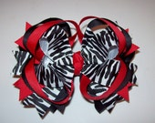 Red Zebra Hair Bows 74