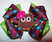 Custom Boutique Double Layer Owl Hair Bow Apple Green & Brown Multi Dots Cute Girls Infant Toddler Hairbow