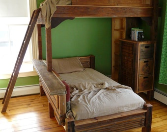 Wooden twin bunkbeds
