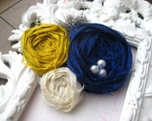 Navy Blue and Mustard Yellow Rosette bridesmaids Clips can be made in any color scheme