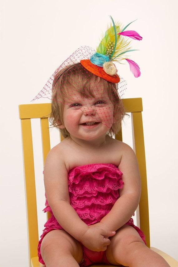 Birthday girl photo prop Bright rosette Children's fascinator headband