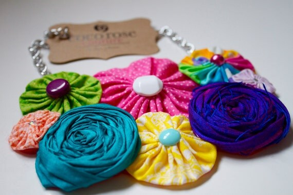 rainbow yo yo and rosette necklace  LAST ONE