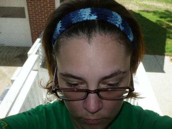 Crocheted Headband Blue Design - One Size fits most Men or Women