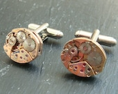 Matching Rose Gold Watch movement Cufflinks, ideal gift for a wedding, anniversary or birthday