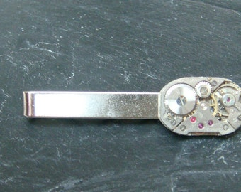 Tie Bar with 15 Jewel swiss Made Watch Movements ideal gift for a steampunk lover