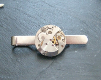 Tie Bar with swiss Made Watch Movements ideal gift for a steampunk lover