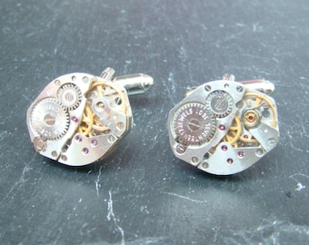 Stunning oval watch movement cufflinks ideal gift for a wedding, birthday or anniversary