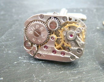 Mens Xmas gift, Watch movement cufflinks ideal for the steampunk lover