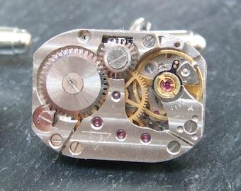 Steampunk Cufflinks Vintage Watch Movements Mens Gear Cuff Links