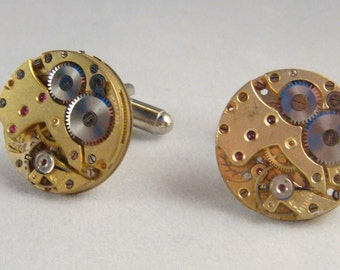 Gold tone watch movement cufflinks ideal gift for a wedding, birthday or anniversary