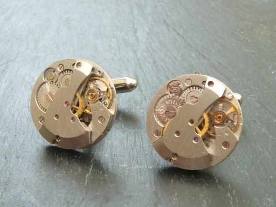 Stunning round watch movement cufflinks ideal gift for a wedding, birthday or anniversary