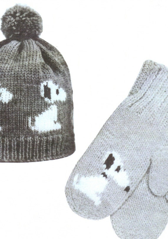 Items similar to Knitting Pattern Mary Maxim Graph style Snoopy Hat and Mitte...