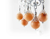 Hand assembled Chandelier earrings - silver plated filigree with peach aventurine beads - Apricot - Girandole - Classic - Orange