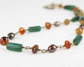 """HERMINIA: Reproduction Roman Necklace - """"vintage bronze"""" wirework with emerald green aventurine, citrine and pearls - Handmade - mejjewelry"""