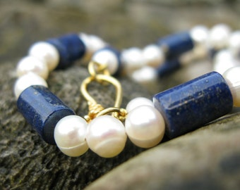 Reproduction Necklace from Fayum portrait - Handmade from Lapis Lazuli beads and FW pearls - Vermeil clasp