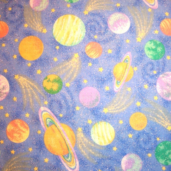 Items similar to solar system fabric quilt craft sew for Solar system fabric