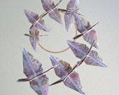 Origami Crane Mobile Children Decor Baby Mobile Eco Friendly Nursery Home Pink Neutral Nature Floral Garden Birds
