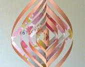 Swirly Mobile Floral Paper Decoration Home Decor Baby Nursery Teen Dorm Modern Peach Pink Retro Garden Flower
