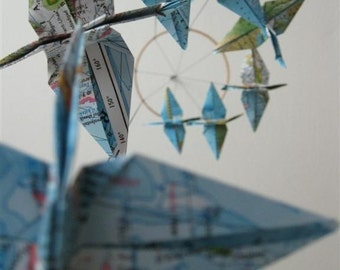 Children Decor Origami Crane Mobile Baby Mobile Map Eco Friendly World Atlas Teacher Home Repurposed Blue