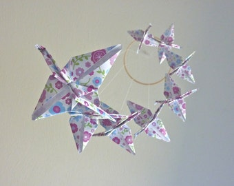 Origami Crane Mobile - Baby Mobile Children Decor Eco Friendly Nursery Home Girly Girl Bedroom Purple Birds Garden