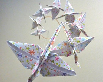 Baby Mobile Origami Crane Mobile Children Decor Eco Friendly Art Baby Nursery Home Unique White Floral Flowers Bird