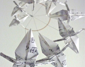 Origami Crane Mobile Baby Mobile Eco Friendly Children Decor Nursery Home Decor Unique Sheet Music Song Upcycled