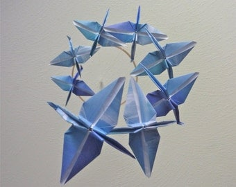 Origami Crane Mobile Children Decor Baby Mobile Eco Friendly Blue Art Nursery Home Decor Blue Nautical Bedroom