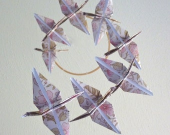 SUMMER SALE - Origami Crane Mobile Children Decor Baby Mobile Eco Friendly Nursery Home Pink Neutral Nature Floral Garden Birds