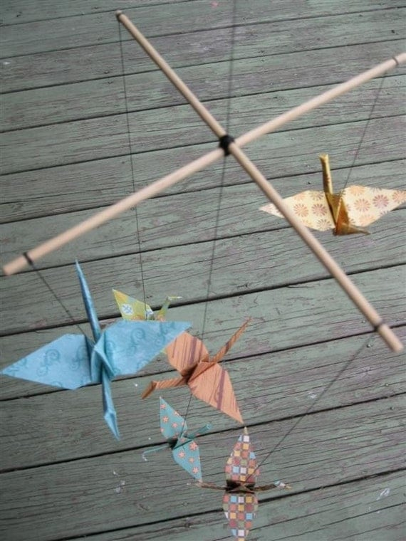Children Decor Origami Crane Mobile - Baby Mobile - Whimsical Baby Nursery Home Decor Unique Nature Bird Peace Bedroom Crib