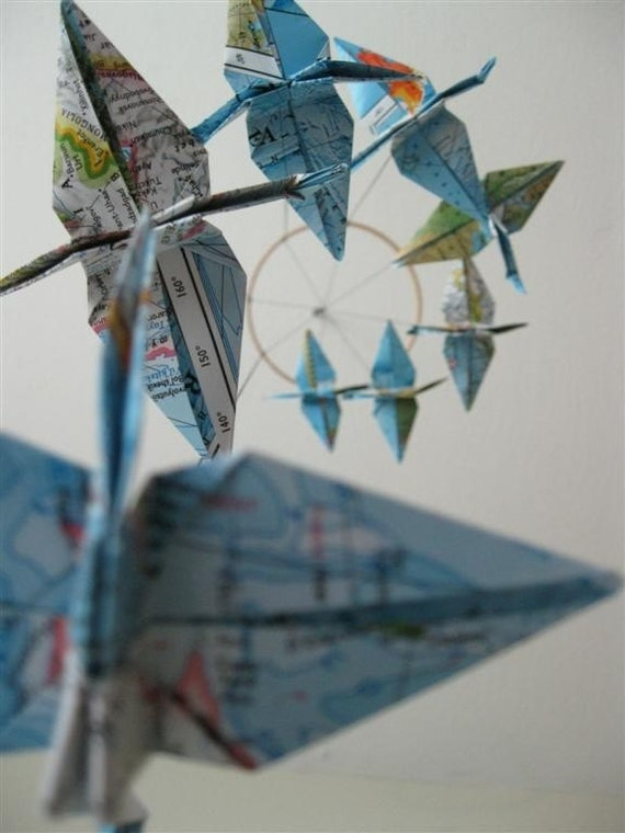 Children Decor Origami Crane Mobile Baby Mobile Map Eco Friendly World Atlas Teacher Home Repurposed Blue