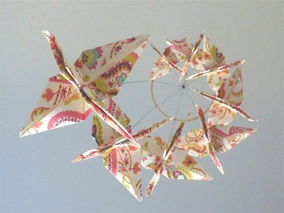 Origami Crane Mobile - Baby Mobile - Children Decor - Eco Friendly - Baby Nursery Pink Paisley Unique Nature Girl Girly Birds