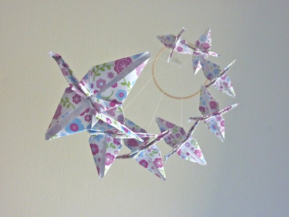 Origami Crane Mobile - Baby Mobile Children Decor Eco Friendly Nursery Home Girly Girl Bedroom Purple Birds Garden