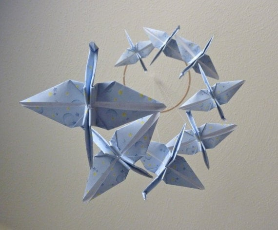 Baby Mobile Origami Crane Mobile Children Decor Eco Friendly Home Unique Gift Celestial Peace Star Moon Light Blue