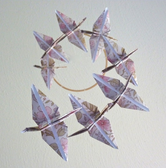 CYBER MONDAY SALE - Origami Crane Mobile Children Decor Baby Mobile Eco Friendly Nursery Home Pink Neutral Nature Floral Garden Birds