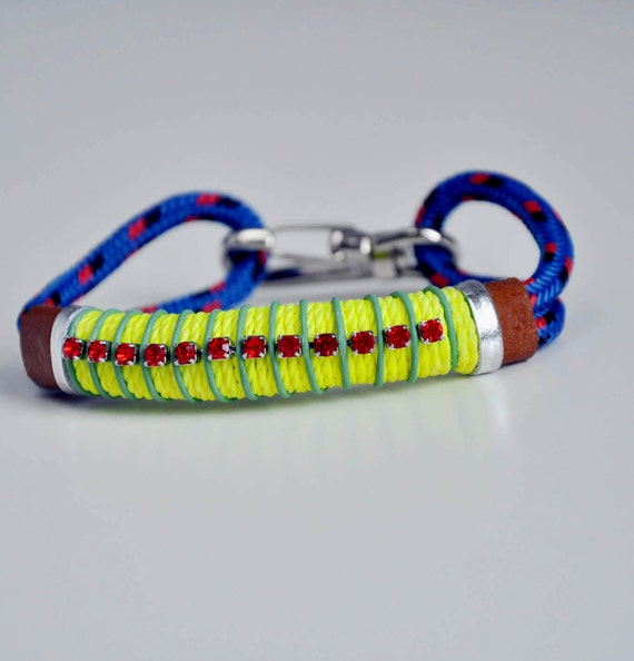 Neon and blue rope bracelet