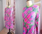Vintage 1960s YOUNG DIMENSIONS Cotton Dress