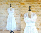 Vintage 1950s White and Flowers Summer Cocktail Dress