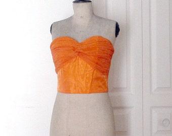 Vintage 1980s PALAIS ROYAL Orange Strapless Organza