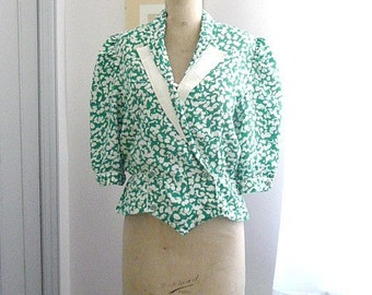 Vintage 1980s FEUILLES Green and White Jacket