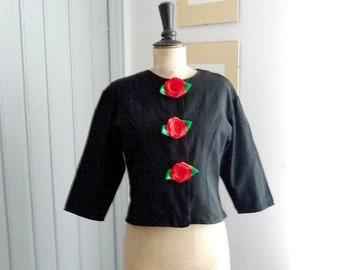 Vintage 1980s ROSES ROUGES Black Jacket