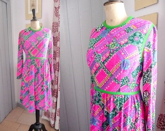 Vintage 1960s YOUNG DIMENSIONS Cotton Dress